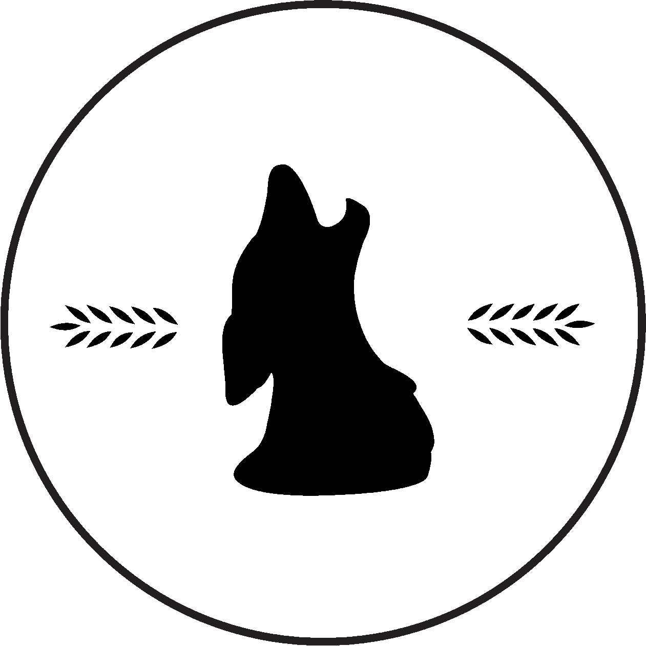 Silhouette of a dog howling. Wheat shafts on the left and right. All images inside a large circle.